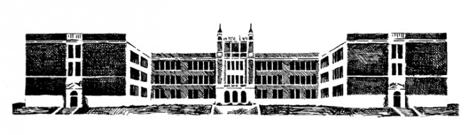 Artist's sketch of Old Main