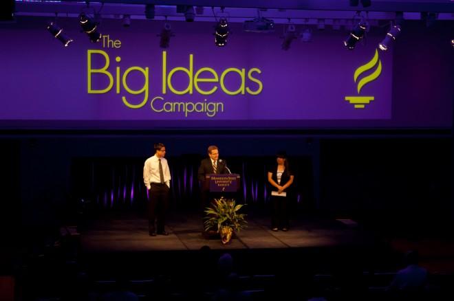 President Davenport, Kurtis Malecha and Lorraine Trevino at Big Ideas Campaign launch