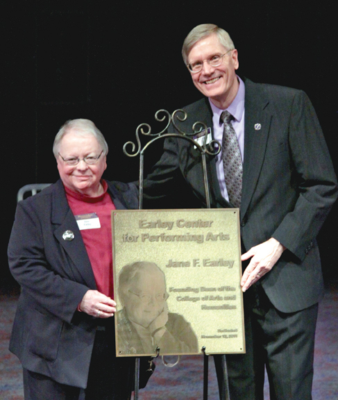 Jane Earley and Paul Hustoles at the Earley Center for the Performing Arts naming ceremony