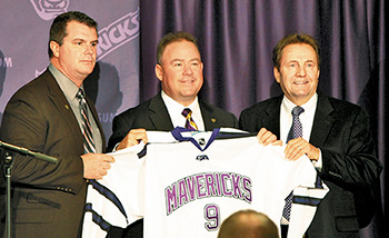 Kevin Buisman, Mike Hastings and President Davenport at the press conference