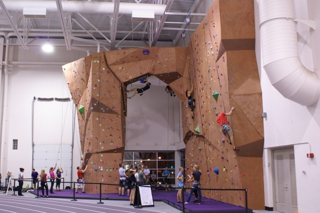 The indoor climbing wall