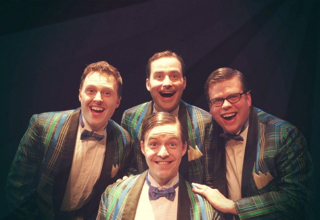 "Cast members of ""Forever Plaid"" are (back row, left to right) Bobby Gardner (also a Minnesota State Mankato alum), Ben Thietje and Tom Karki. In front is Toby Thietje"