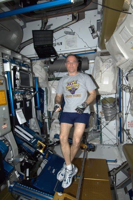 Col. Kevin Ford on the International Space Station, honoring athletic trainer Bruce Neischwitz by wearing a Minnesota State Mankato T-shirt.