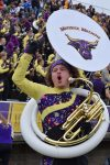 tuba player in the bleachers cheering on the team